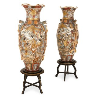 Pair of Satsuma porcelain Japanese vases, Meiji period