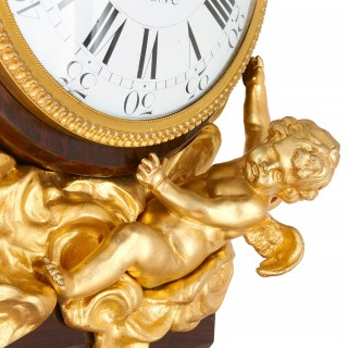 Mahogany and gilt bronze Rococo pedestal clock, after Riesener