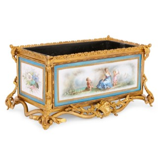 French antique Sevres style porcelain and gilt bronze jardiniere