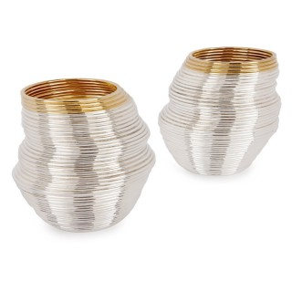 Two contemporary coiled silver beakers by Nan Nan Liu