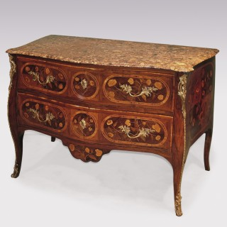A mid 18th Century Portugese rosewood & marquetry serpentine Commode.