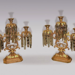 Pair of high quality 19th Century American ormolu Lustre Candleabra.