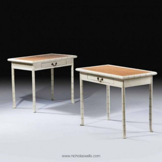 PAIR OF SIMULATED BAMBOO SIDE TABLES