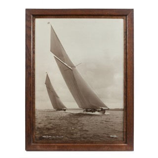 Original sepia print of White Heather and Shamrock racing