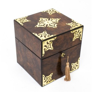 Victorian Brass-Mounted Burr Walnut Decanter Box c.1860