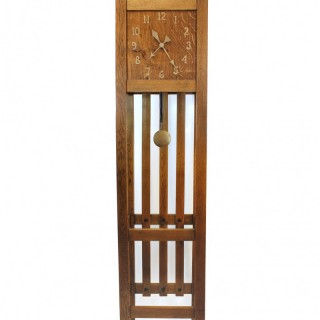 Oak Arts & Crafts Mission style Longcase Clock