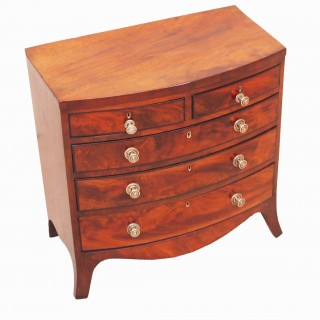 Antique Georgian Miniature Bowfront Chest Of Drawers