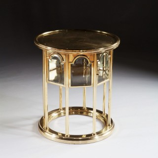 RARE SECESSIONIST VIENNESE POLISHED BRASS MOORISH STYLE OCCASIONAL TABLE