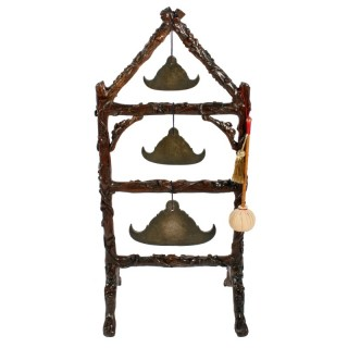 Unusual Burmese Gongs on Stand