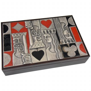Card playing box 1960 sterling silver, enamel and wood