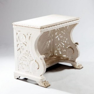 WHITE PAINTED INDIAN ANTIQUE CONSOLE TABLE