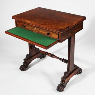 WILLIAM IV ROSEWOOD END SUPPORT WORK TABLE