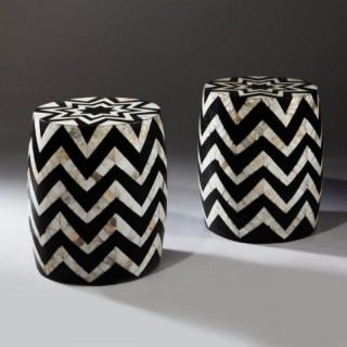 A PAIR OF MOTHER OF PEARL INLAID STOOLS
