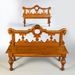 A PAIR OF NEO RENAISSANCE HALL BENCHES