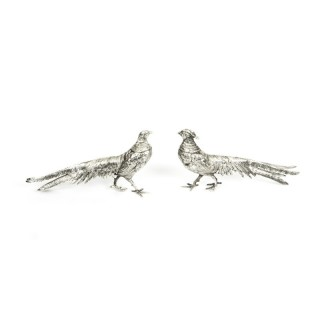 Antique Pair of Silver Plate Bronze Table Pheasants C1900