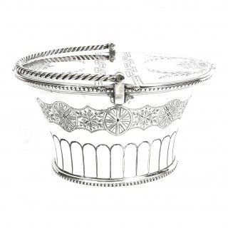 Antique Silver Plated Victorian Sweet Basket 19th C