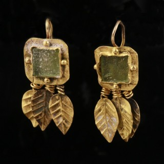 Unusual Roman Gold Earrings with Green Stone and Leaf design
