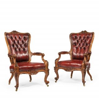 Victorian walnut armchairs