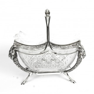 Antique Victorian Silver Plate & Cut Crystal Biscuit Sweets Box 19th C