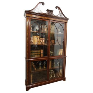 Chippendale Style Inlaid and Glazed Cabinet Bookcase