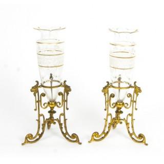 Antique Pair Cut Glass & Enamel Ormolu Mounted Vases 19th C