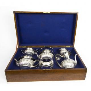 Antique English Edwardian Cased Silver 5 x Teaset Walker & Hall 1908