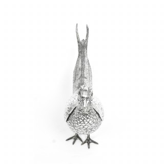 Antique Pair of Continental 800 Silver Pheasants 19th Century