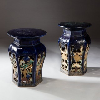 PAIR CHINESE POTTERY GARDEN SEATS