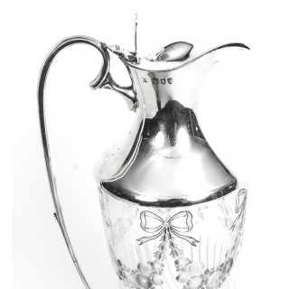 Antique Victorian Silver & Engraved Crystal Claret Jug William Hutton 1893