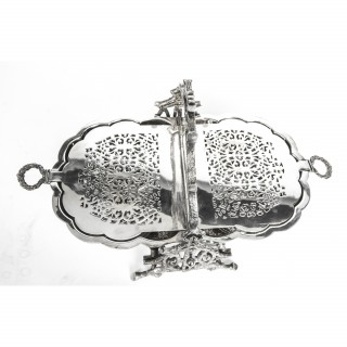 Antique Victorian Silver Plated Shell Folding Biscuit Box C1880