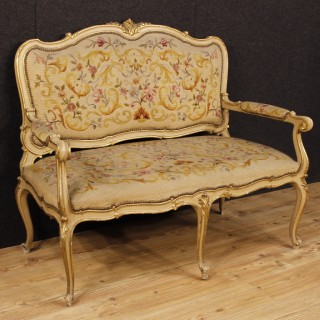 Italian Sofa In Lacquered And Gilt Wood In Louis XV Style 20th Century