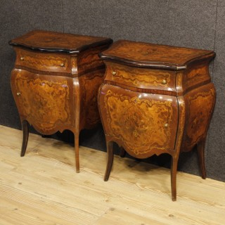 Pair Of Italian Inlaid Bedside Tables In Louis XV Style