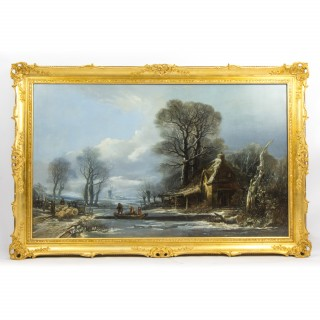 Antique Large Painting Ferry Crossing in a Winter Landscape by H.Muller 1838