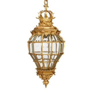 Very large French ormolu and bevelled glass lantern