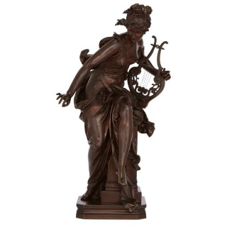 Antique patinated bronze sculpture of 'Melodie' by Carrier-Belleuse