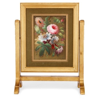 English still life porcelain plaque with giltwood frame