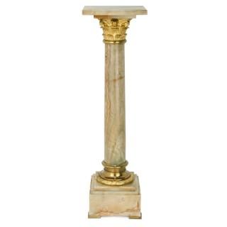 Antique ormolu mounted onyx pedestal