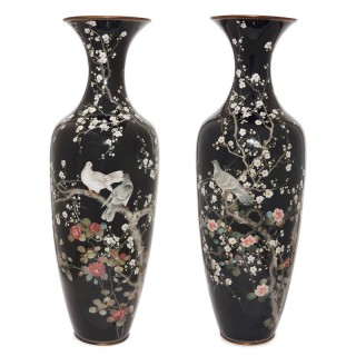 Pair of Japanese Meiji period cloisonne enamel vases