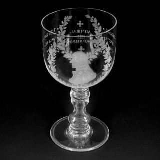Nelson commemorative large engraved glass  goblet