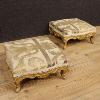 Pair Of Antique French Footstools In Golden Wood From 19th Century