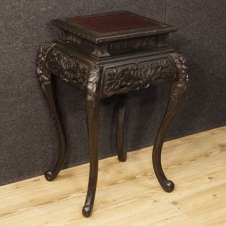 Oriental Living Room Side Table In Ebonized Wood From 20th Century