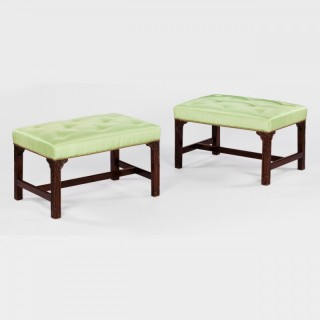 PAIR OF GEORGE III CHIPPENDALE MAHOGANY STOOLS