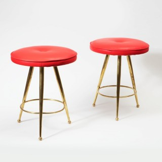PAIR OF ITALIAN MID CENTURY POLISHED BRASS STOOLS