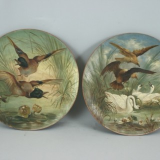 Hunting Plates in Painted Terracotta (Germany, c. 1880)