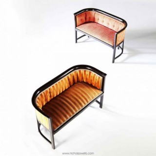 TWO EBONISED VIENNESE SETTEES BY KOHN / JOSEF HOFFMANN FURNITURE DESIGN