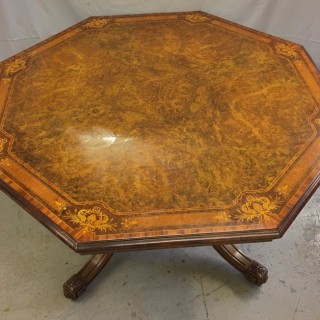 A very fine octagonal inlaid burr walnut table by Gillows
