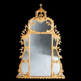 ANTIQUE GEORGE II CHIPPENDALE GILTWOOD OVERMANTEL MIRROR