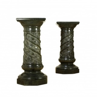 Large pair of Italian green marble pedestals, 19th Century