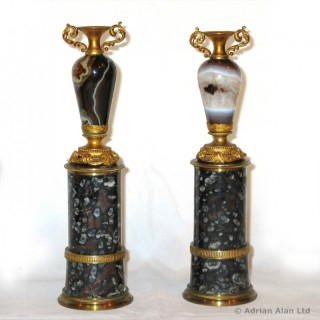 A Rare Pair of Gilt-Bronze Mounted Agate Miniature Vases on Pedestals