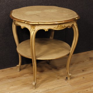 Italian Living Room Coffee Table In Lacquered And Gilt Wood 20th Century